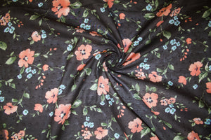 Anne Kle!n Floral Swiss Dotted Voile - Coral/Green/Blue on Brown