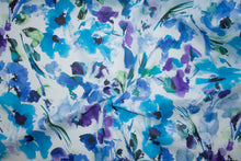 Anne Kle!n Watercolor Floral Cotton Lawn - Blue Tones/White