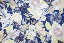 Anne Kle!n Pen and Ink Floral Cotton Lawn - Blue/Green/Tans