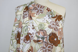 Anne Kle!n Floral Cotton Lawn - Vanilla/Olive/Apricot/Brown