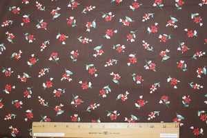 Mini Floral Stretch Cotton Poplin - Red/Pink/Green on Brown