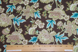 Designer Italian Floral Cotton Lawn - Aquas/Greens/Browns