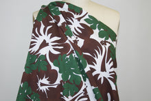 Bold Hibiscus Italian Cotton Poplin - Chocolate/Forest/White