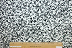 Ann Kle!n Small Floral Cotton Poplin - Ivory/Black