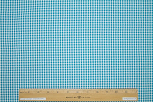 Cotton Seersucker Check - Teal/White