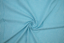 1 3/4 yards of Cotton Seersucker Check - Teal/White