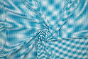 Almost 1 1/2 yards of Cotton Seersucker Check - Teal/White