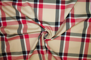Veddy British Style Plaid Cotton Shirting - Tan/Red/Black/White