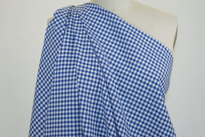 Japanese Gingham Cotton Twill - Cobalt/White