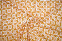 Mini Medallions Japanese Stretch Cotton - Golds/Pale Coral/White