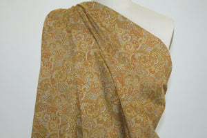 Japanese Paisley Cotton Shirt-weight - Gold Tones