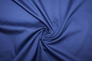 Italian Designer Satin-Finish Cotton Shirting - Bright Navy