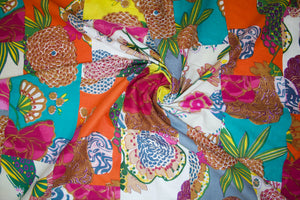 Japanese Chrysanthemum Patchwork-Style Print - Multi Brights
