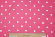 Polka Dot Cotton Shirt Weight - Bright Pink/White