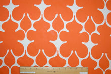 Stylized Oak Leaf Designer Cotton Lawn - Orange/White