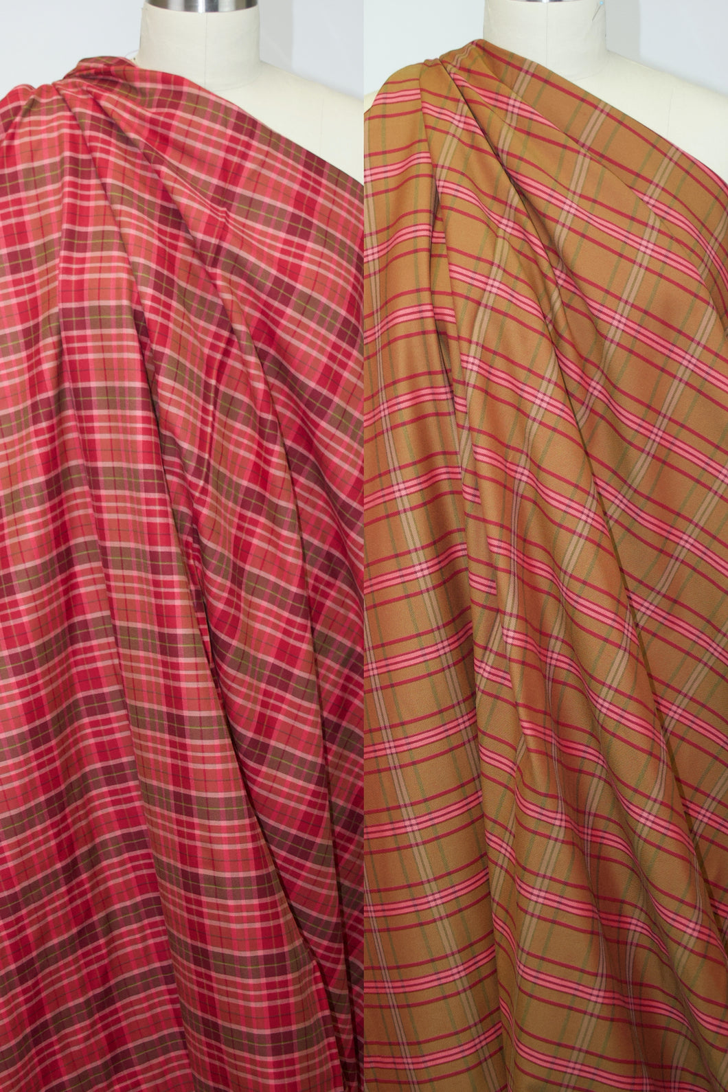 Cotton Shirting Double Cloth - Red/Gold/Pinks
