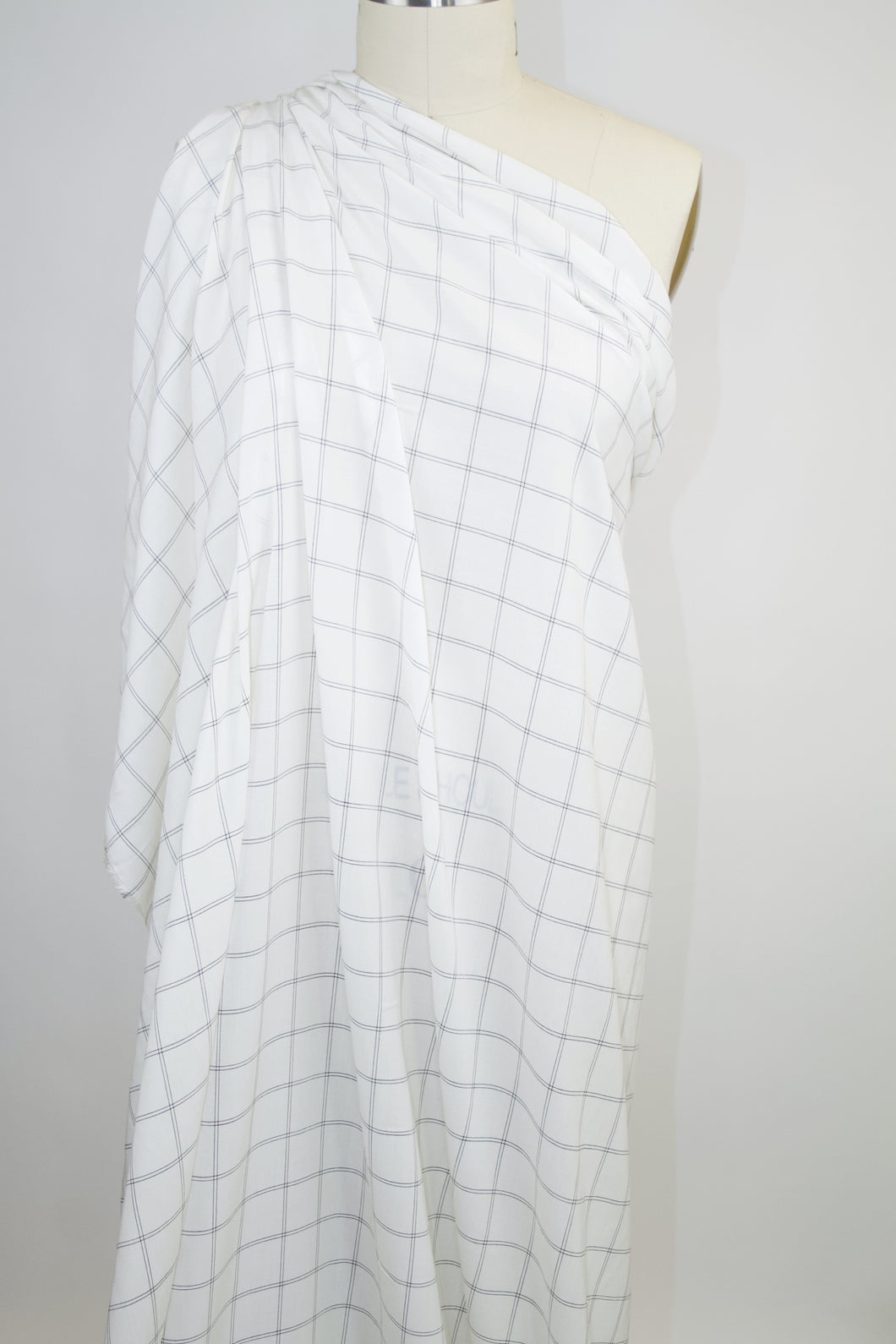 Italian Windowpane Plaid Soft Cotton Lawn - Black on White