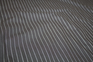 Pinstriped Cotton Poplin - White on Black
