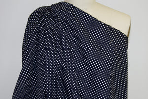 Mini Polka Dot Japanese Cotton - White on Darkest Navy