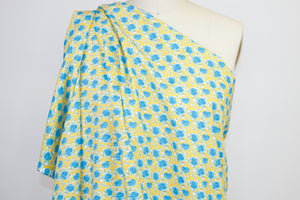 1 1/2 yards of Roses are... Blue! Cotton Shirt weight - Blues/Green/Yellow/White