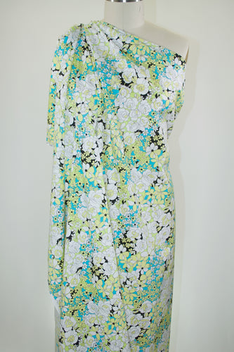 Anne Kle!n Floral Stretch Cotton  - Lime/Teal/Black/White