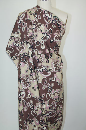 Anne Kle!n Mid-Century Modern Floral Stretch Cotton  - Brown Tones/Lavender