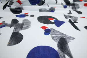 Abstract Geometry Digital Cotton Stretch Twill - Black/Blue/Red on White