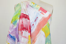 Paint Chips Stretch Cotton Twill - Multi on White
