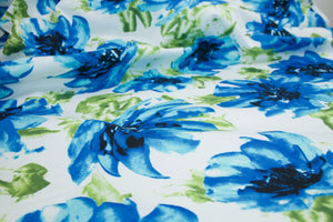 Bouquet of Beauty Stretch Cotton Sateen - Blues/Greens on White