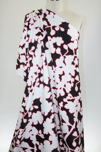 Flash Shadow Floral Stretch Sateen - Black/White/Red