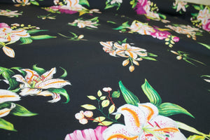 Peony Parade Italian Stretch Cotton - Multi on Black