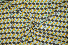 Geometric Approach Italian Stretch Cotton - Green/Mustard/Brown/Black/White