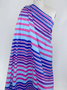 NY Designer Stripey Stretch Bottom Weight Cotton Twill - Blues/Pink