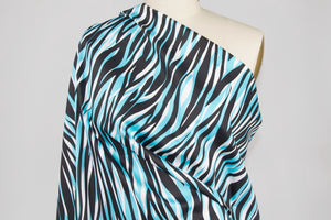 What's Black and White and Blue All Over Stretch Cotton Sateen - Black/White/Blue