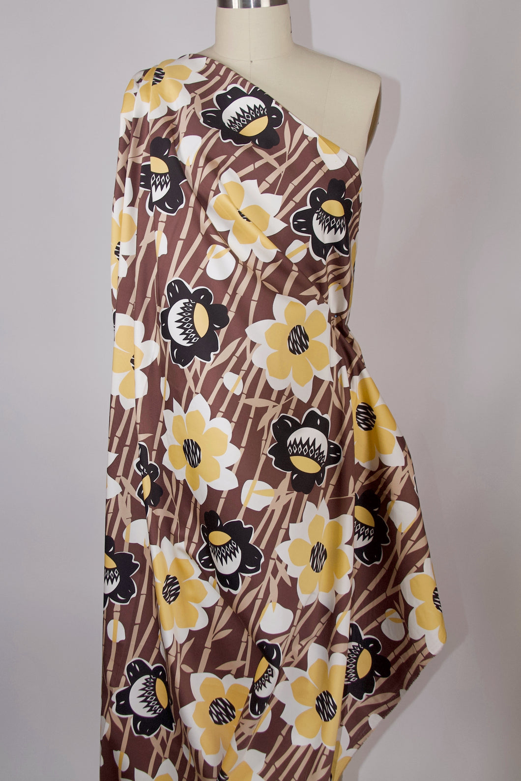 Bamboo Dreams Mod Floral Cotton Stretch Sateen - Browns/Yellow/Black/White