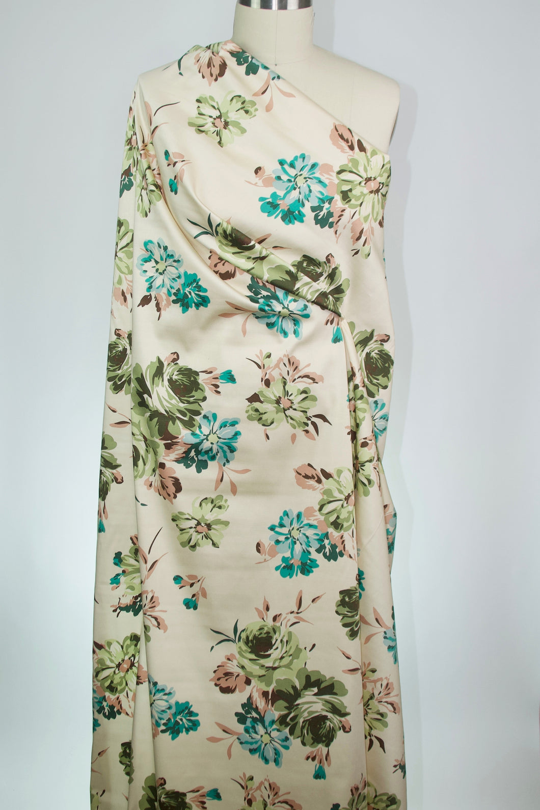 Soft Florals Cotton Stretch Sateen - Teals/Greens/Browns on Cream