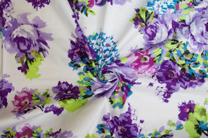 Primavera Prettiness Cotton Stretch Sateen - Purples/Blues/Greens on White