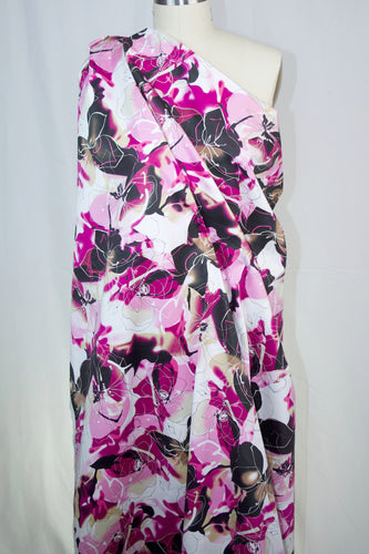 Watercolor-ish Floral Cotton Sateen - Pinks/Tans/Black/White