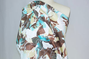 Watercolor-ish Floral Cotton Sateen - Teals/Browns/White