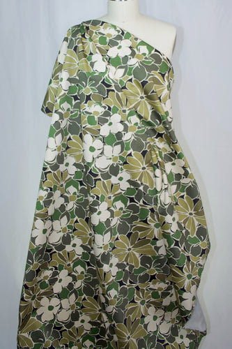 Camo-Fleurs Cotton Stretch Sateen - Greens/Tan/Brown