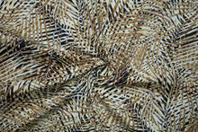 Palm Frond Print Stretch Cotton Poplin - Brown Tones