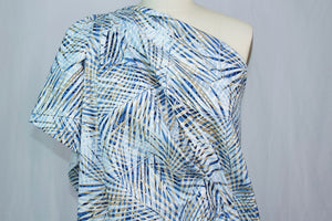 Palm Frond Print Stretch Cotton Poplin - Blue Tones
