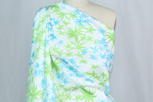 7/8+ yard of Hawaiian Ahhhhhs - Cotton Sateen - Blue/Green on White