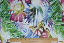 Jungle Leaves Cotton Sateen - Multi on White