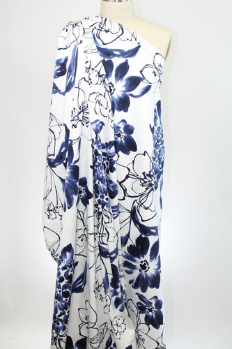 Pen and Ink Florals Cotton Sateen - Blues on White