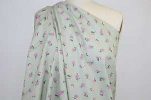 Mini Floral Stretch Cotton - Sage/Pinks/Brown