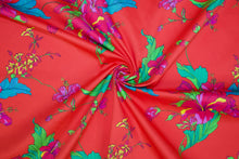 Hibiscus Heaven Stretch Cotton Sateen - Multi on Red
