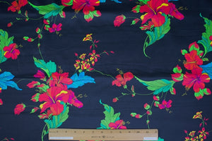 Hibiscus Heaven Stretch Cotton Sateen - Multi on Black