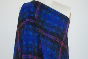 Italian Couture Mohair-Blend Bold Plaid - Blue/Pink/Black