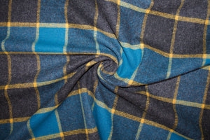 Woolrich Large Check Wool Flannel - Blue/Mottled Gray/Mustard